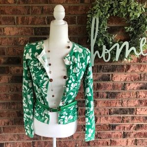 { OLD NAVY } Green & White Floral Print Cardigan